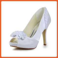 919351f00701b Fabulous Satin Stiletto Heel Pumps with Flower Wedding Party Evening Shoes
