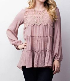 Mauve tiered ruffle with lace detail top.  evierosecouture.com