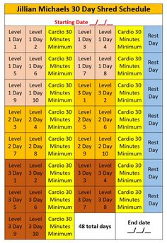 Jillian Michaels 30 Day Shred Schedule