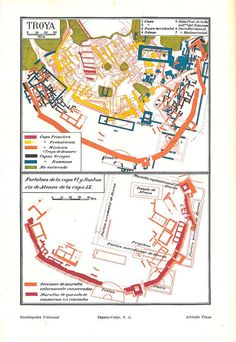Troy Archeological City Map 1920s Trojan Fortress and Sanctuary of Athena