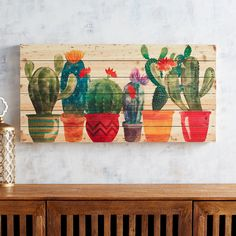 1 Imports Planked Festive Cacti Wall Decor Pier 1 Imports Planked Festive Cacti Wall Decor Small cactus in bloom Cactus Wall Art, Cactus Painting, Diy Canvas, Acrylic Painting Canvas, Canvas Paintings, Decoration Cactus, Wall Drawing, Canvas Wall Decor, Unique Wall Art