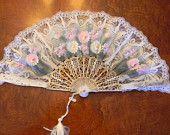 Vintage Ladies Hand Held Fan- Spanish Style Hand Painted Fan