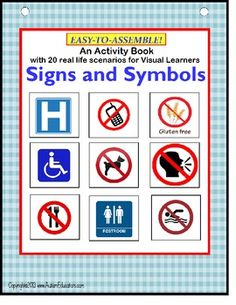 Real life pictures in this interactive book show 20 real life scenarios where or when safety signs or symbols may be seen. Also includes a File…