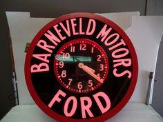 Vintage Glow Dial Neon Clock Barneveld Ford Motors Dealership Clock 31 Inch | eBay