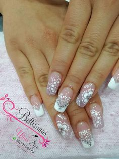 Pin by Leidys on uñas in 2019 Glam Nails, Beauty Nails, My Nails, Hair Beauty, White Nails, Nail Arts, Nail Art Designs, Acrylic Nails, Pretty