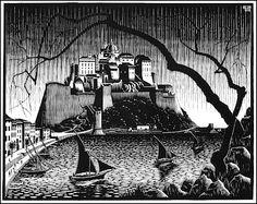 """M. C. Escher- """"Citadel of Calvi, Corsica""""-October 1928, Woodcut."""