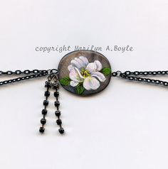 JEWELRY ANKLET STONE Hand Painted blossom by OriginalSandMore
