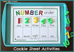 Cookie Sheet Activities. Hands-on activities for early literacy and numeracy!