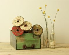vintage industrial thread spools by foundvintageobjects on Etsy, $36.00