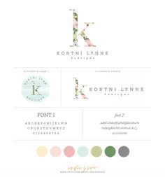 Floral Initial Logo design with alternate logos   by IndieGrace