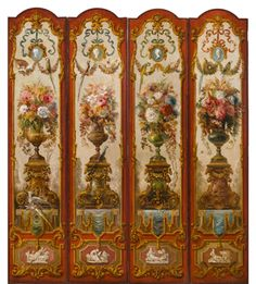 four panels of a of a ten-panel decorative screen from the Ballard House, Louisville, Ky., painted by Everett Shinn (American, 1876–1953), signed and dated in 1911, that sold for $ 31,250.