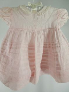 Vintage 50's/60's Pale Pink Infant Baby Dress by Alfred Leon - 6 - 12 months.