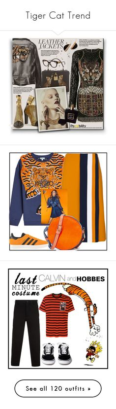 """""""Tiger Cat Trend"""" by yours-styling-best-friend ❤ liked on Polyvore featuring girl, animalprint, tiger, safary, Balmain, Gucci, Burberry, Chanel, leatherjackets and Kenzo"""