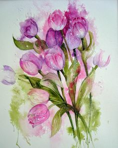 Watercolour Florals: White and PinkTulips