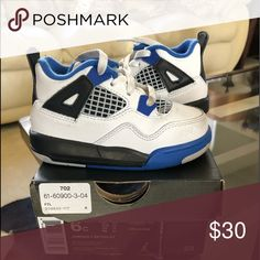 afc32b5b42e073 Shop Kids  Jordan White Blue size Sneakers at a discounted price at  Poshmark. Description  Retro Sold by Fast delivery