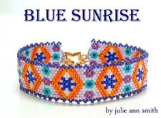 BLUE SUNRISE Bracelet Beading Pattern by Julie Ann Smith Designs at Bead-Patterns.com