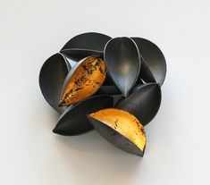 NIKOLAI BALABIN- (RUSSIA /FINLAND)  - Fallen Gold brooch, 2010  silver, patina, leaf gold, 51 mm