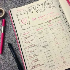bullet journal idea for self care | schedule me time with ways to destress, relax, feel good | bujo inspiration