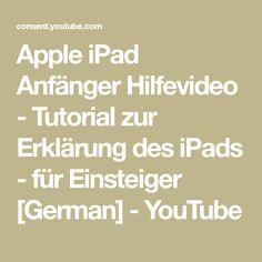Apple iPad Anfänger Hilfevideo - Tutorial zur Erklärung des iPads - für Einsteiger [German] - YouTube Videos, Ipad, Youtube, First Aid, Studying, Youtubers, Youtube Movies