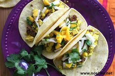 Tofu Tacos with Spiced Lentils and a Jicama and Mango Salsa by www.noshed.net