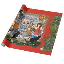 Musicians in old Amsterdam during Christmas Wrapping Paper