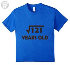 Kids Birthday Shirt for 11 Year Old Boy or Girl, 121 Square root 8 Royal Blue - Birthday shirts (*Amazon Partner-Link)