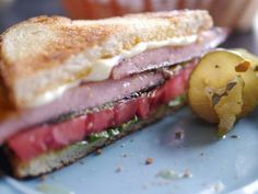 Carl John's Fried Bologna Sandwich recipe from Southern Fried Road Trip via Food Network Panini Sandwiches, Wrap Sandwiches, Sandwich Recipes, Italian Sandwiches, Grill Sandwich, Sandwich Board, Delicious Sandwiches, Bologna Recipes, Food Network Recipes