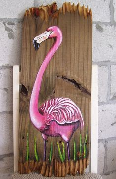 Flamingo Hand Painted on Wood Reclaimed Fence by roseartworks