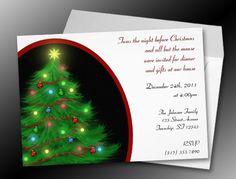 """Twas the Night"" Christmas (Eve) Tree Invitations"