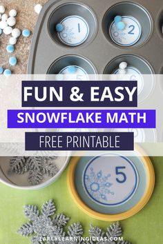 Looking for winter math activities for your kids? Try these snowflake number circles. Use the free math printables in muffin tins or use them to make counting containers. Many ideas are included for counting, number sense, and even basic addition. Perfect for your winter math centers or math work stations in preschool, pre-k, and kindergarten. A great addition to your snow theme, snowman theme, winter theme unit and lesson plans.