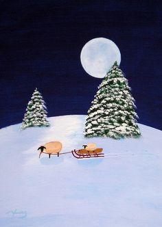 Christmas sheep folk art Print by Todd Young SLED от ToddYoungArt Art Paintings, Original Paintings, Small Paintings, Sheep Art, Sheep And Lamb, You Draw, Naive Art, Christmas Art, Christmas Clipart