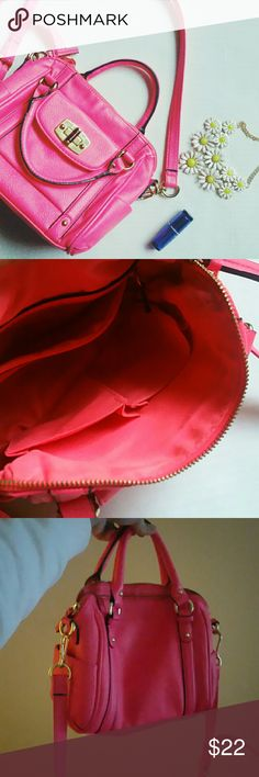 Neon pink Merona crossbody This is one of my favorite bags. I used it last spring and summer. This is a small to medium sized bag and it has many compartments inside to organize the interior with your Treasures. Overall is in great condition no peeling, only a few stains from wearing it with blue jeans. No trades Merona Bags Crossbody Bags