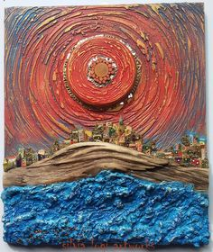 I 4 elementi al tramonto The 4 elements at sunset by Silvia Logi Driftwood Crafts, Junk Art, Collage Art, Art Collages, Sculpture Clay, Recycled Art, Pebble Art, Landscape Art, Love Art