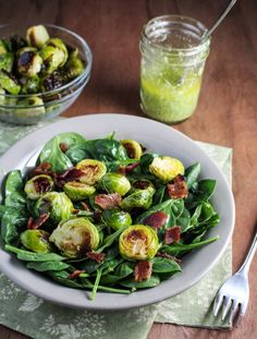 Roasted Brussels Sprout and Bacon Salad with Avocado Vinaigrette.