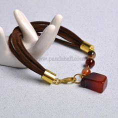 Simple Agate Beads Suede Cord Bracelet-1