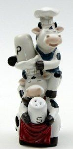 Cow Chef Salt and Pepper Set-0154-18236 by IWGAC. $19.00. All return claims must be initiated within 15 business days of receipt of the order. Returns for any reason other than damaged or defective will have a 20% restocking fee and return shipping fees will not be refunded. Animals Cows Kitchens Salt & Pepper Sets
