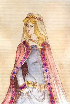 Aurora by lapoupette.deviantart.com on @deviantART - Fourth in a series showing Disney girls in historical dresses.