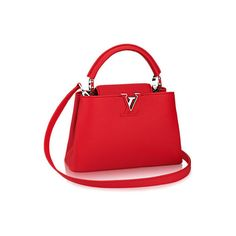 Capucines BB Taurillon Leather (14.540 BRL) ❤ liked on Polyvore featuring bags, handbags, shoulder bags, leather purses, mini crossbody purse, red leather handbags, red leather purse and leather crossbody