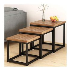 Cherry Tree Furniture CLIVE Walnut Nesting Tables Nest of 3 Tables End Tables 50 x 50 x 50 cm Tree Furniture, Loft Style, Cherry Tree, Nesting Tables, Barbacoa, End Tables, Coffee Tables, Wood And Metal, 3 Piece