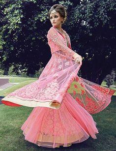pink wedding dress Lehenga Anarkali, Lehenga Style Saree, Pink Lehenga, Net Saree, Designer Anarkali, Saris, Eid Dresses, Formal Dresses, Buy Designer Sarees Online