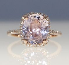 Ring of 3.2ct cushion-cut sapphire in 14k rose gold (etsy.com/EdelPrecious) on Etsy engagement ring on Etsy, $3,431.94