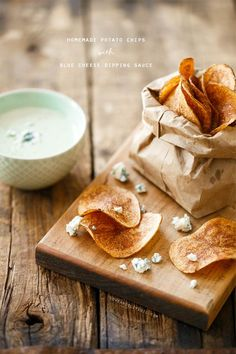 Potato Chips with Blue Cheese Dipping. I have made this dip before. It is a hit every time. Rich, blue cheese flavor that makes the potato chips sing in your mouth:)
