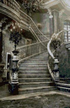 Ghostly Grand Staircase Cross Stitch pattern PDF - Instant Download! by PenumbraCharts on Etsy
