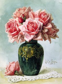 The Athenaeum - Vase with Pink Roses (Raoul de Longpre - No dates listed)