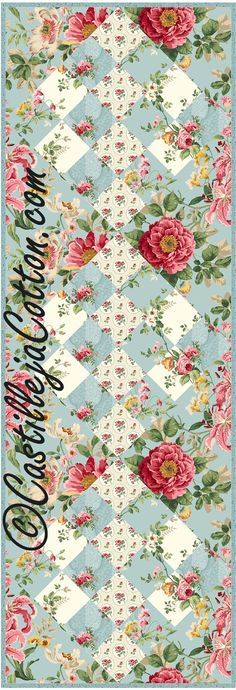 16 Patch Table Runner Quilt ePattern 4610-12 floral quilt