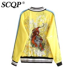 Find More Basic Jackets Information about Fashion Ladies Floral Tiger Bomber Jacket Printed Yellow Zipper Pocket Female Satin Bomber Jacket Winter Casual Women Coats 2016,High Quality jacket large,China jacket shoulder Suppliers, Cheap jacket coat men from SCQP Store on Aliexpress.com