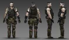 This is a digitally illustrated concept art drawing of Harper from Call of Duty: Black Ops 2. The thing I like about this piece of artwork is how it shows a profile view of the character from all the different angles (left, right, front, back) so the 3D Modeller will be able to see all the different features of the characters from the 4 main angles.