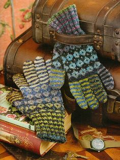 Noro knitting patterns, Knit Noro, Diamonds and Stripes Gloves, from Laughing Hens