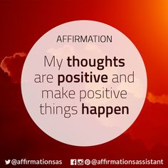 "Affirmation: ""My thoughts are positive and make positive things happen"" #abundance #positive #lawofattraction #loa #affirmation #affirmations #positiveaffirmations #positiveaffirmation #success #happiness #motivation #motivational #abundant #successtrain #manifest #achieve"