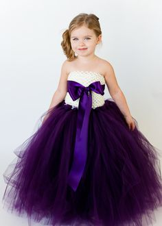 Flower Girl Tutu Dress in Plum and White by TheLittlePeaBoutique, $115.00